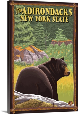 The Adirondacks, New York State - Black Bear in Forest: Retro Travel Poster