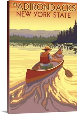 The Adirondacks, New York State - Canoe Scene: Retro Travel Poster