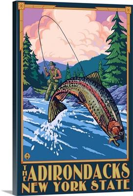 The Adirondacks, New York State - Fly Fisherman: Retro Travel Poster