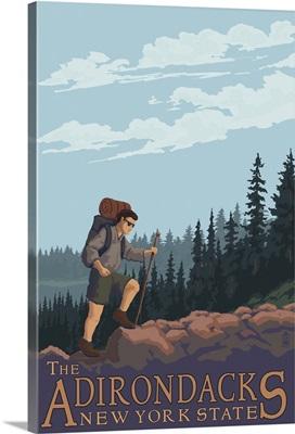 The Adirondacks, New York State - Hiking Scene: Retro Travel Poster
