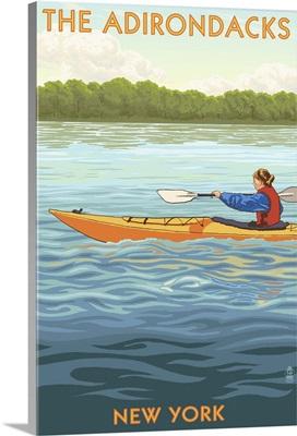 The Adirondacks, New York State - Kayak Scene: Retro Travel Poster