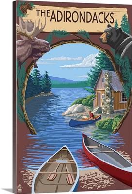 The Adirondacks, New York State - Lake Montage Scene: Retro Travel Poster