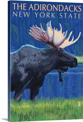 The Adirondacks, New York State - Moose at Night: Retro Travel Poster