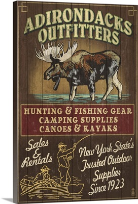 The Adirondacks, New York State - Outfitters Vintage Sign Moose: Retro Travel Poster
