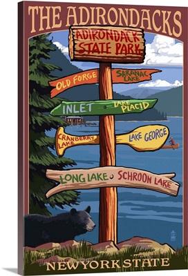 The Adirondacks, New York State - Sign Destinations: Retro Travel Poster