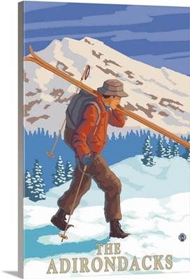 The Adirondacks, New York State - Skier Carrying Skis: Retro Travel Poster