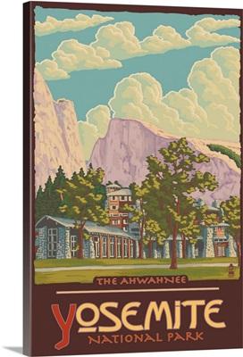 The Ahwahnee - Yosemite National Park, California: Retro Travel Poster