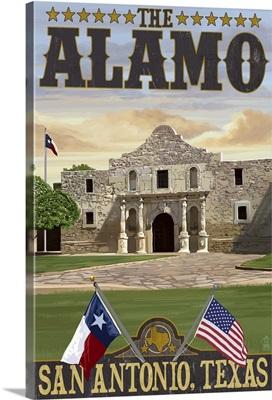 The Alamo Morning Scene - San Antonio, Texas: Retro Travel Poster
