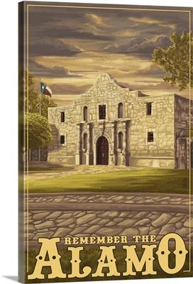 The Alamo Sunset - San Antonio, Texas: Retro Travel Poster