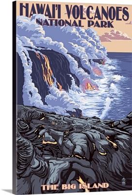The Big Island, Hawaii - Lava Flow Scene: Retro Travel Poster