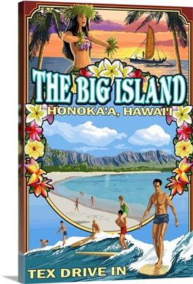 The Big Island - Honoka'a, Hawaii - Montage: Retro Travel Poster