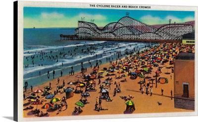 The Cyclone Racer and Beach Crowds, Long Beach, Long Beach, CA