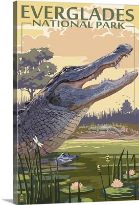 The Everglades National Park, Florida - Alligator Scene: Retro Travel Poster