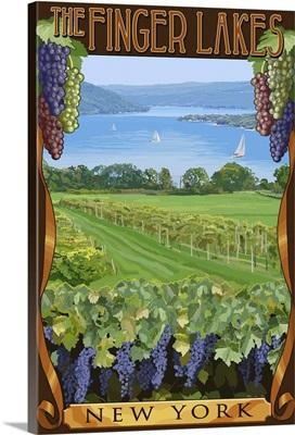 The Finger Lakes, New York - Vineyard Scene: Retro Travel Poster