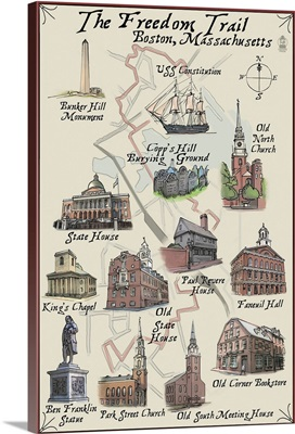 The Freedom Trail - Boston, MA: Retro Travel Poster
