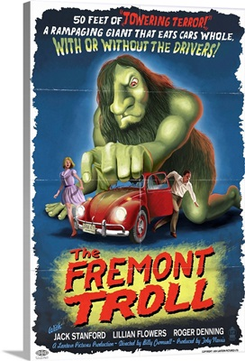 The Fremont Troll Movie Poster: Retro Travel Poster