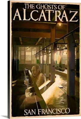 The Ghosts of Alcatraz Island - San Francisco, CA: Retro Travel Poster