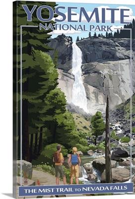 The Mist Trail - Yosemite National Park, California: Retro Travel Poster