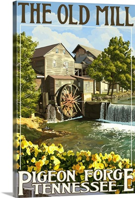 The Old Mill - Pigeon Forge, Tennessee: Retro Travel Poster