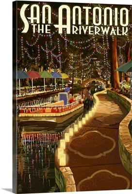 The Riverwalk - San Antonio, Texas: Retro Travel Poster