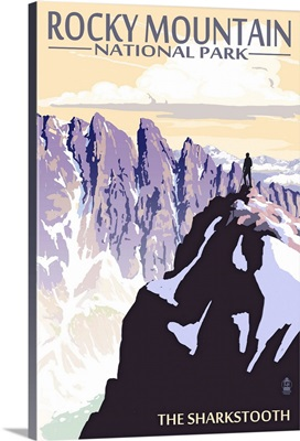 The Sharkstooth - Rocky Mountain National Park: Retro Travel Poster
