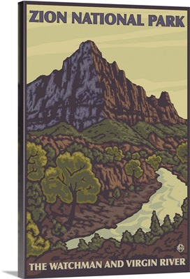 The Watchman - Zion National Park: Retro Travel Poster