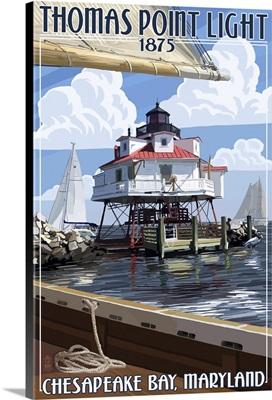Thomas Point Light - Chesapeake Bay, Maryland: Retro Travel Poster