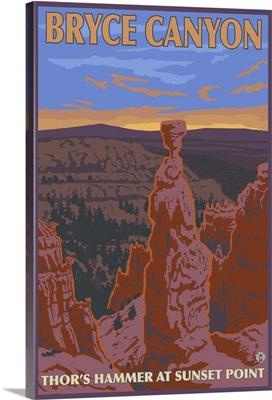 Thor's Hammer - Bryce Canyon, UT: Retro Travel Poster