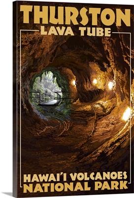 Thurston Lava Tube - Hawaii Volcanoes National Park: Retro Travel Poster