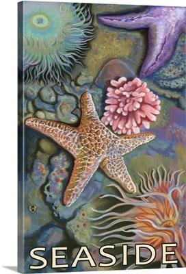 Tidepools - Seaside, Oregon: Retro Travel Poster