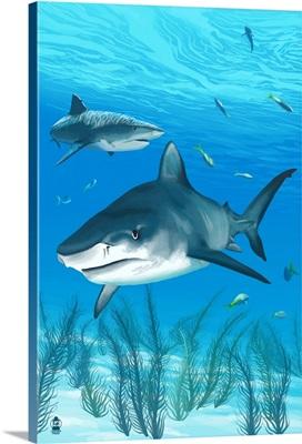 Tiger Shark: Retro Poster Art