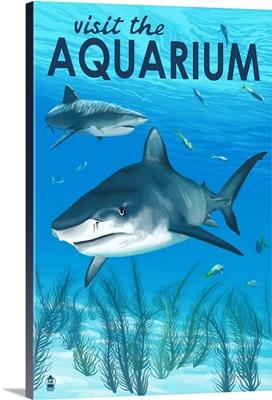 Tiger Shark - Visit the Aquarium: Retro Travel Poster