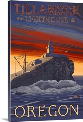 Tillamook Lighthouse - Oregon Coast: Retro Travel Poster