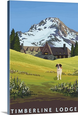 Timberline Lodge in Spring: Retro Travel Poster