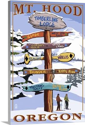 Timberline Lodge - Mt. Hood, Oregon - Winter Ski Runs Sign: Retro Travel Poster