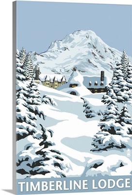Timberline Lodge - Winter Scene at Mt. Hood: Retro Travel Poster