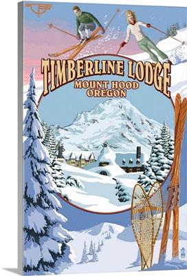 Timberline Lodge - Winter Views - Mt. Hood, Oregon: Retro Travel Poster