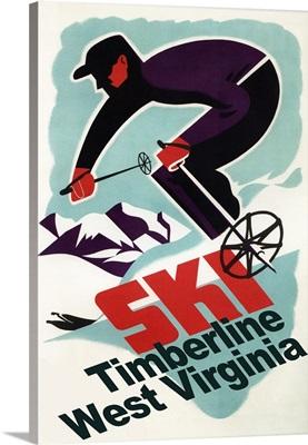 Timberline, West Virginia - Vintage Skier: Retro Travel Poster