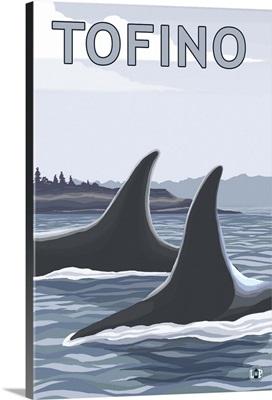 Tofino, Canada - Orca Fins: Retro Travel Poster