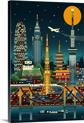 Tokyo, Japan, Retro Skyline