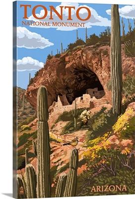 Tonto National Monument, Arizona: Retro Travel Poster