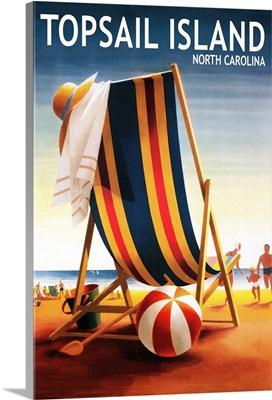 Topsail Island, North Carolina, Beach Chair and Ball