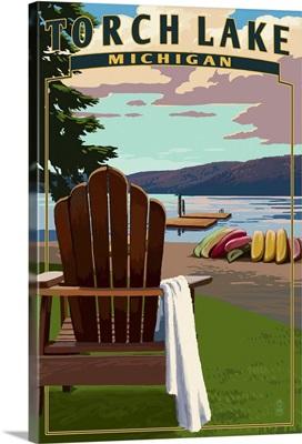 Torch Lake, Michigan - Adirondack Chairs: Retro Travel Poster