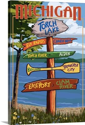 Torch Lake, Michigan - Sign Destinations: Retro Travel Poster