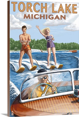Torch Lake, Michigan - Water Skiing and Wooden Boat : Retro Travel Poster