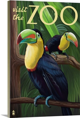 Toucan - Visit the Zoo: Retro Travel Poster