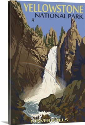 Tower Falls - Yellowstone National Park: Retro Travel Poster