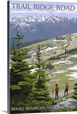 Trail Ridge Road - Rocky Mountain National Park: Retro Travel Poster