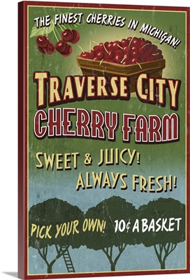Traverse City, Michigan - Cherry Farm Vintage Sign: Retro Travel Poster