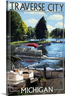 Traverse City, Michigan - Pontoon Boats: Retro Travel Poster